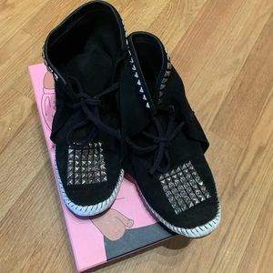 Studded black bootie moccasin Jeffery Campbell